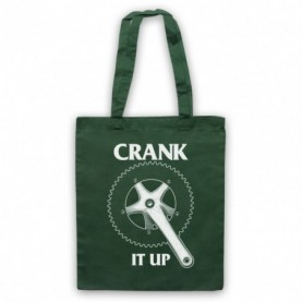 Crank It Up Cycling Slogan Dark Green Tote Bag