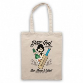 Dear God Thanks For Beer Women And Cricket Funny Cricket Slogan Natural Tote Bag
