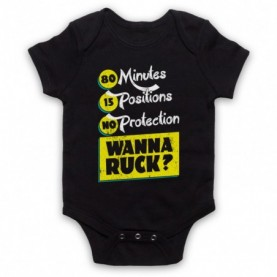 80 Minutes 15 Positions No Protection Wanna Ruck Funny Rugby Slogan Black Baby Grow
