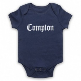 Compton Text Logo Navy Blue Baby Grow