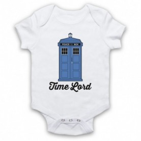 Dr Who Time Lord Tardis White Baby Grow
