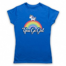 You Go Girl Feminist Slogan Girl Power Womens Royal Blue T-Shirt