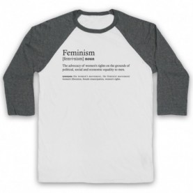 Feminism Dictionary Definition Adults White & Grey Baseball Tee
