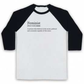 Feminist Dictionary Definition Adults White & Black Baseball Tee
