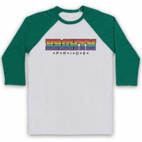 BRGHTN Pride LGBT Festival Adults White & Green Baseball Tee