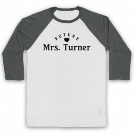 Future Mrs Turner Alex Turner Arctic Monkeys Adults White & Grey Baseball Tee