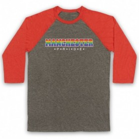 Manchester Pride LGBT Festival Adults Grey & Light Red Baseball Tee