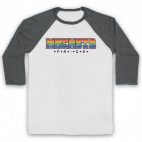 MNCHSTR Pride LGBT Festival Adults White & Grey Baseball Tee