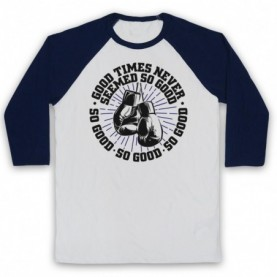 Boxing Chant Sweet Caroline Good Times Never Seemed So Good Adults White & Navy Blue Baseball Tee