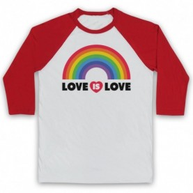 Love Is Love LGBT Pride Adults White & Red Baseball Tee