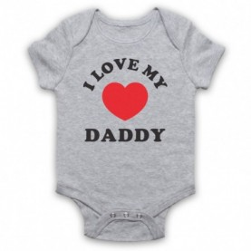 I Love My Daddy Cute Baby Slogan Heather Grey Baby Grow