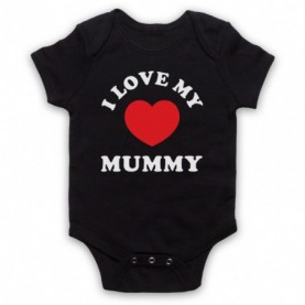 I Love My Mummy Cute Baby Slogan Black Baby Grow