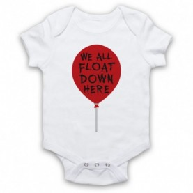 IT We All Float Down Here Red Balloon White Baby Grow