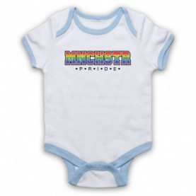 MNCHSTR Pride LGBT Festival White & Light Blue Baby Grow