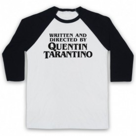 Pulp Fiction Credits Written And Directed By Quentin Tarantino Adults White And Black Baseball Tee