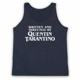Pulp Fiction Credits Written And Directed By Quentin Tarantino Adults Heather Navy Blue Tank Top