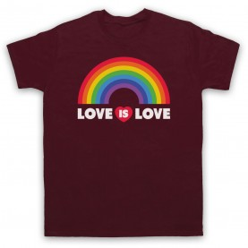 Love Is Love LGBT Pride Mens Maroon T-Shirt