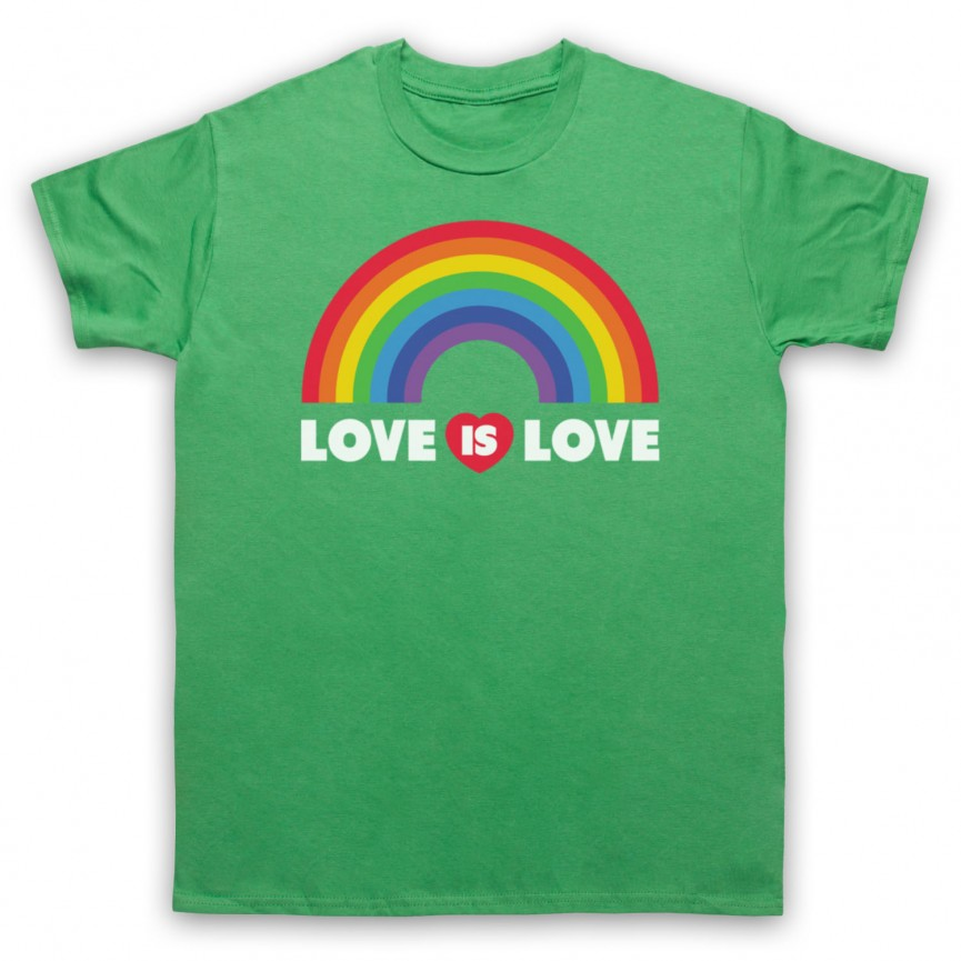 Love Is Love LGBT Pride Mens Green T-Shirt