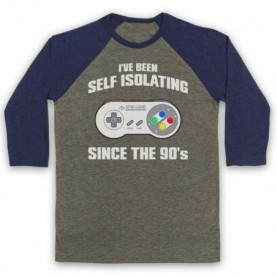 I've Been Self Isolating Since The 90's SNES Console Controller Baseball Tee Baseball Tees