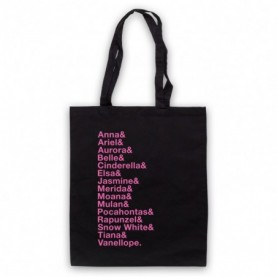 Cartoon Princess Names List Tote Bag Tote Bags