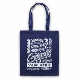 Cartoon Princess Names Typography Tote Bag Tote Bags