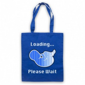Baby Boy Loading Please Wait Retro Computer Slogan Tote Bag Tote Bags