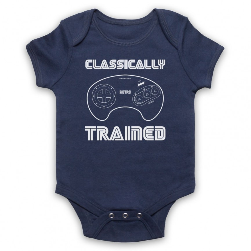 Classically Trained Mega Drive Console Controller Baby Grow Bib Baby Grows & Bibs