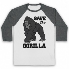 Save The Gorilla Animal Rights Protest Slogan Baseball Tee Baseball Tees