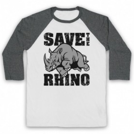 Save The Rhino Animal Rights Protest Slogan Baseball Tee Baseball Tees