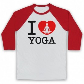 I Love Yoga Stretching Fitness Workout Baseball Tee Baseball Tees