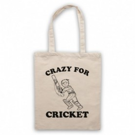 Crazy For Cricket Sports Slogan Tote Bag Tote Bags