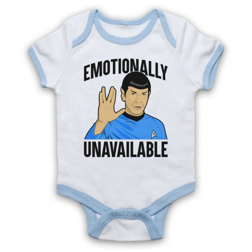 Star Trek Spock Emotionally Unavailable Baby Grow Bib Baby Grows & Bibs