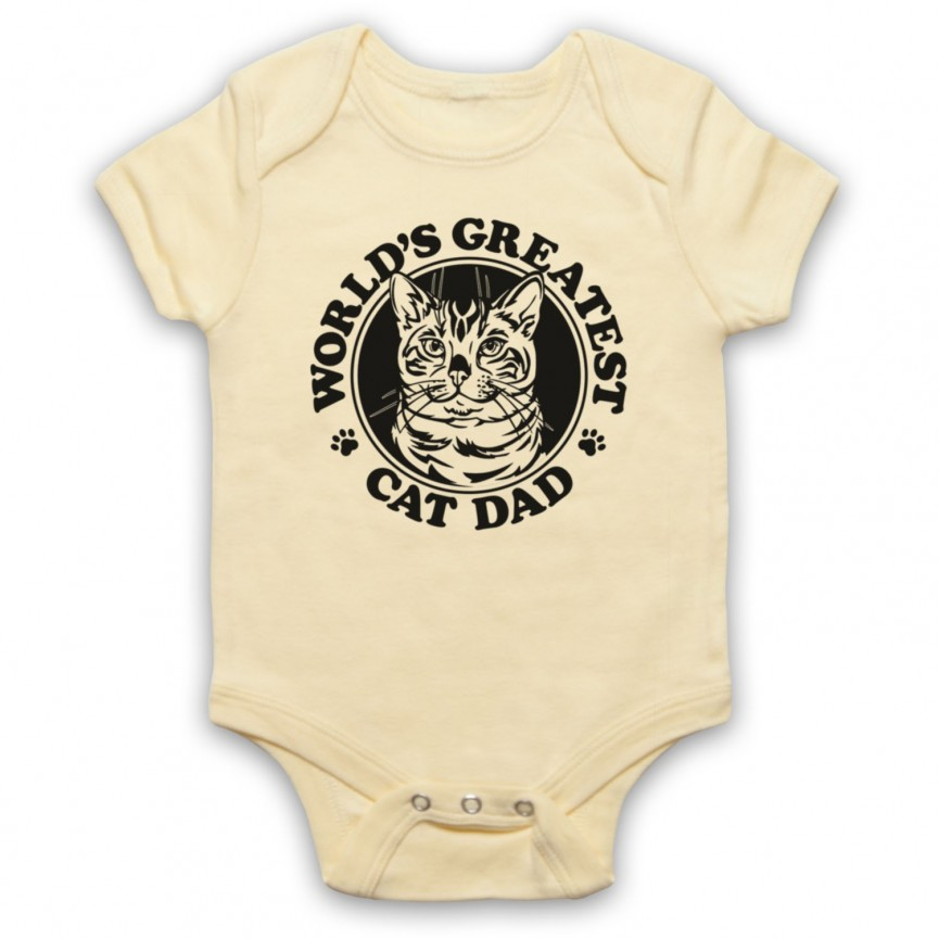 World's Greatest Cat Dad Funny Animal Slogan Baby Grow Bib Baby Grows & Bibs