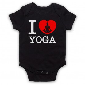 I Love Yoga Stretching Fitness Workout Black Baby Grow