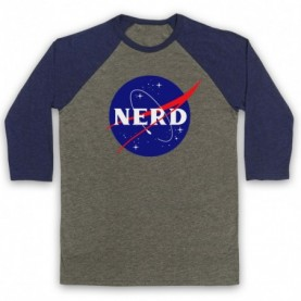 Nerd Nasa Space Agency Parody Logo Baseball Tee Baseball Tees