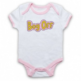 Tracy Beaker Bog Off White And Light Pink Ringer Baby Grow