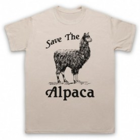 Save The Alpaca Animal Rights Protest Slogan Mens Sand T-Shirt