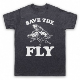 Save The Fly Animal Rights Protest Slogan Mens Heather Slate T-Shirt