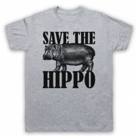 Save The Hippo Hippopotamus Animal Rights Protest Slogan Mens Grey T-Shirt