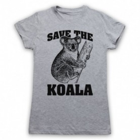 Save The Koala Bear Animal Rights Protest Slogan Womens Grey T-Shirt