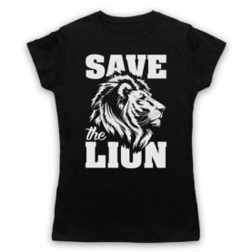 Save The Lion Animal Rights Protest Slogan Womens Black T-Shirt