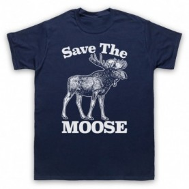 Save The Moose Animal Rights Protest Slogan Mens Navy Blue T-Shirt