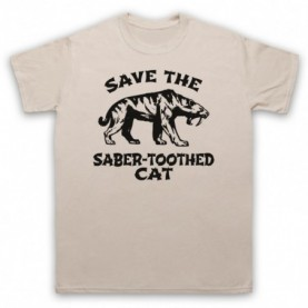 Save The Sabre-Toothed Cat Tiger Dinosaur Extinct Parody Animal Rights Protest Slogan Mens Sand T-Shirt