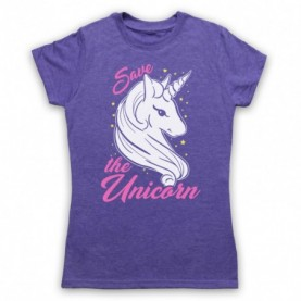 Save The Unicorn Mythical Creature Parody Animal Rights Protest Slogan Womens Heather Purple T-Shirt