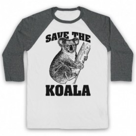 Save The Koala Bear Animal Rights Protest Slogan Adults White And Grey Baseball Tee