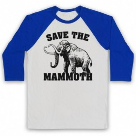 Save The Mammoth Dinosaur Extinct Parody Animal Rights Protest Slogan Adults White And Royal Blue Baseball Tee