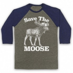 Save The Moose Animal Rights Protest Slogan Adults Grey And Navy Blue Baseball Tee