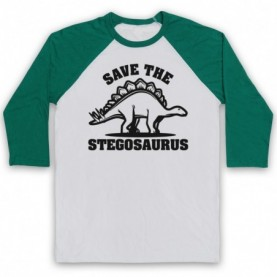 Save The Stegosaurus Dinosaur Extinct Parody Animal Rights Protest Slogan Adults White And Green Baseball Tee
