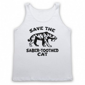 Save The Sabre-Toothed Cat Tiger Dinosaur Extinct Parody Animal Rights Protest Slogan Adults White Tank Top