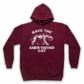 Save The Sabre-Toothed Cat Tiger Dinosaur Extinct Parody Animal Rights Protest Slogan Adults Burgundy Hoodie